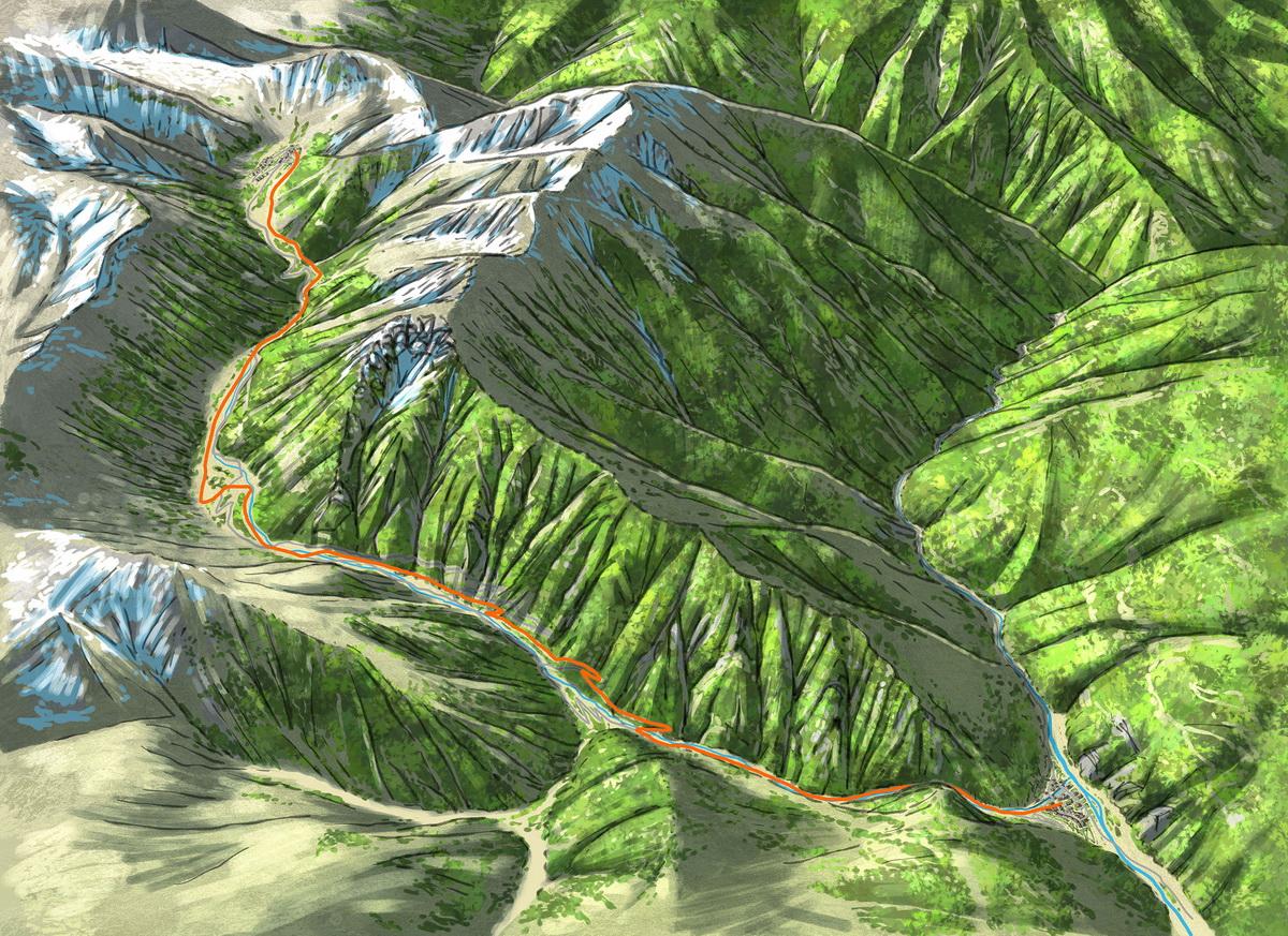 Carte de la descente de la vallée
