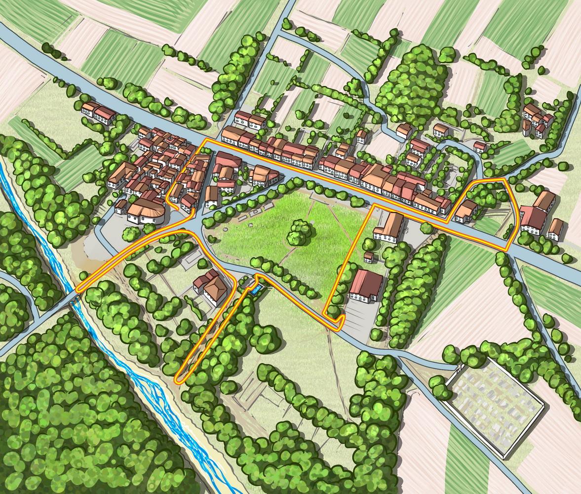 Carte de parcours au village