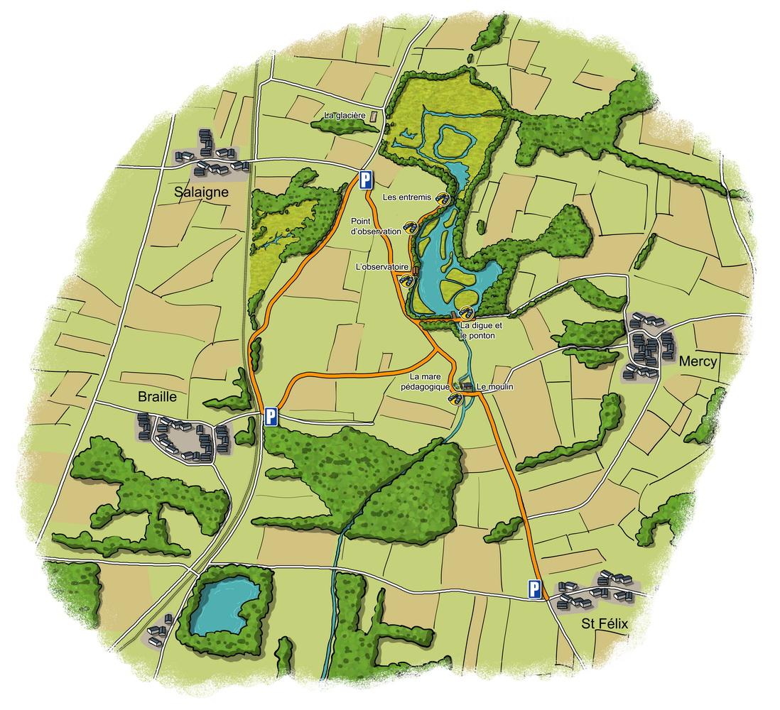 Carte de parcours avec points de vue