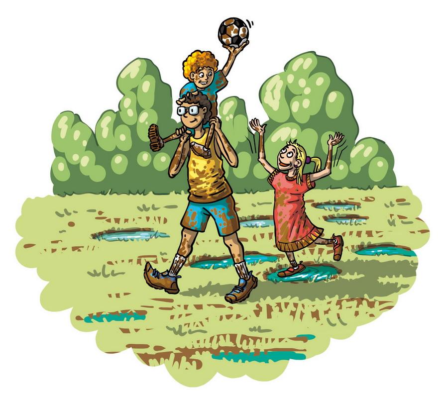 Enfants jouant dans la boue