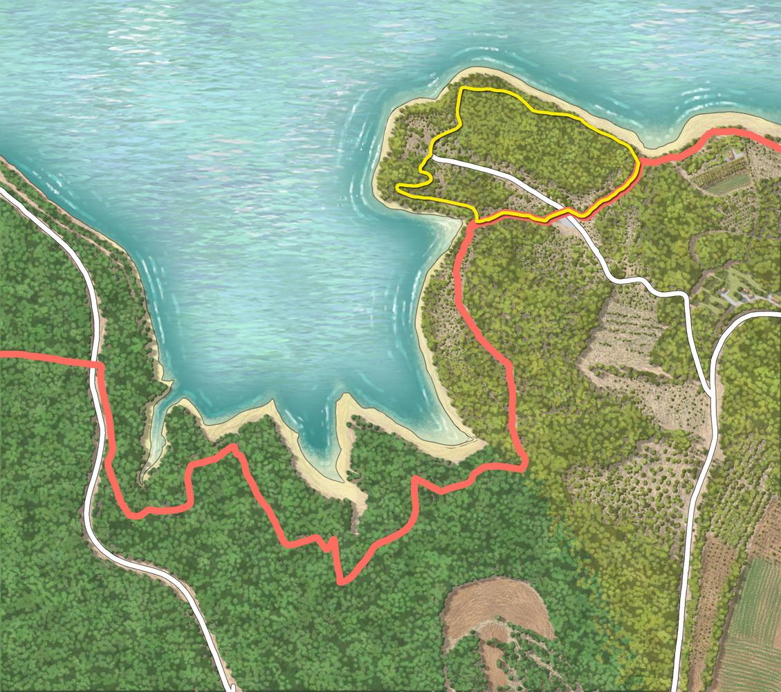 Fond de carte du rivage avec tracés