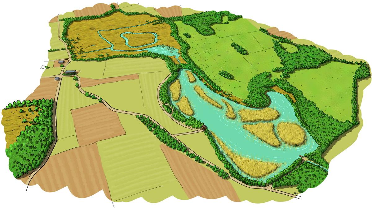 Vue aérienne de la réserve